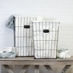 Price comparison 2 Piece Tall Vintage Cage Laundry Basket Set By Gracie Oaks