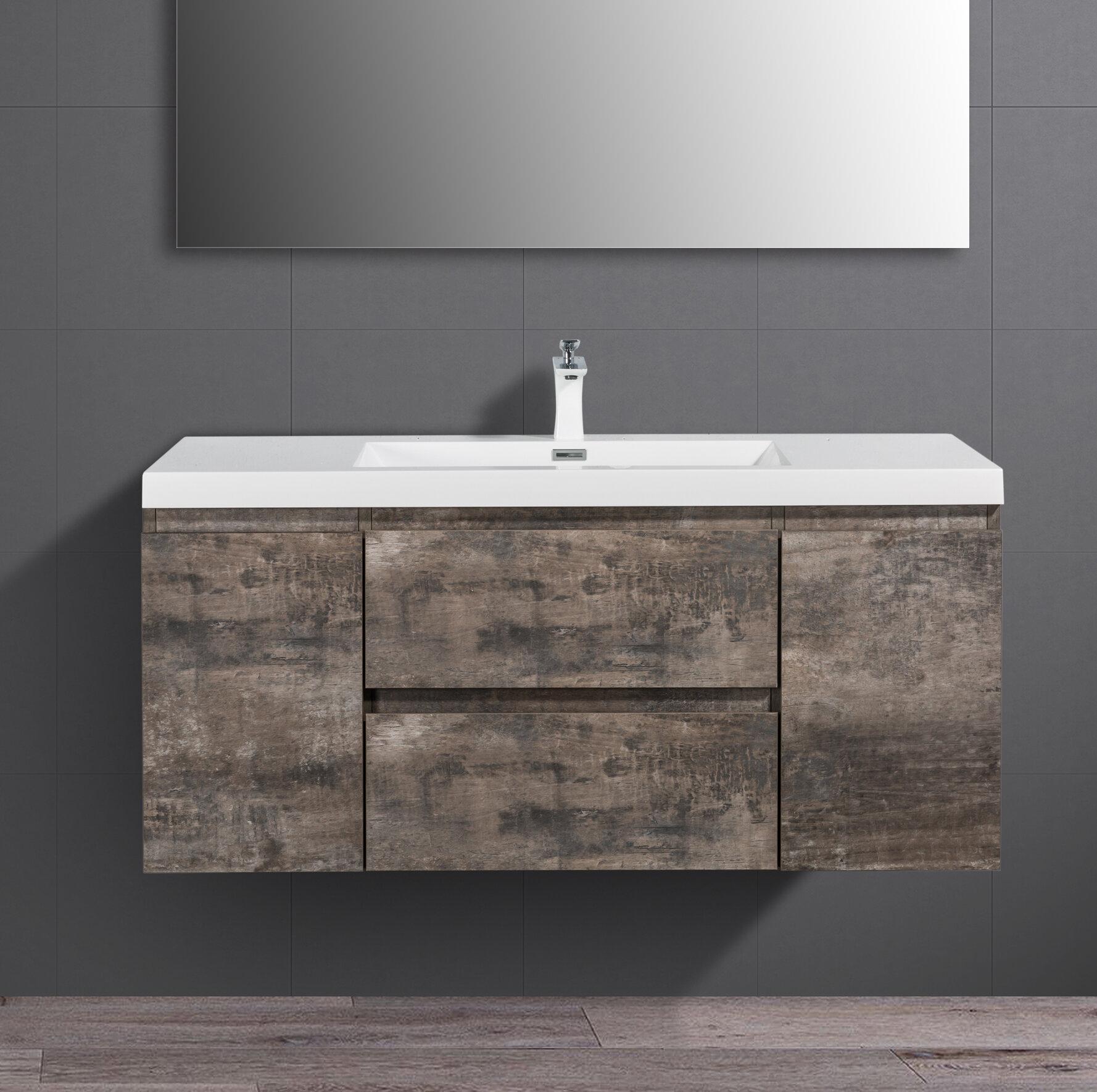 Union Rustic Sarvis 47 1 Wall Mounted Single Bathroom Vanity Set Reviews Wayfair