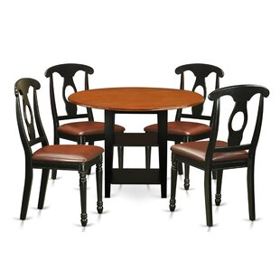 Tyshawn 5 Piece Drop Leaf Breakfast Nook Solid Wood Dining Set by Charlton Home #1
