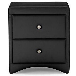 Orren Ellis Ginder Upholstered 2 Drawer Nightstand