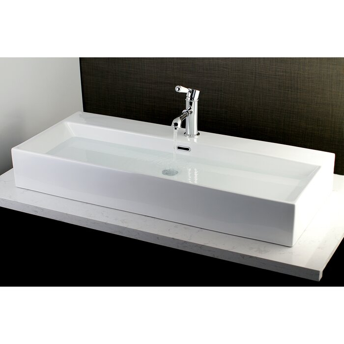 Fauceture Vitreous China Rectangular Vessel Bathroom Sink With Overflow