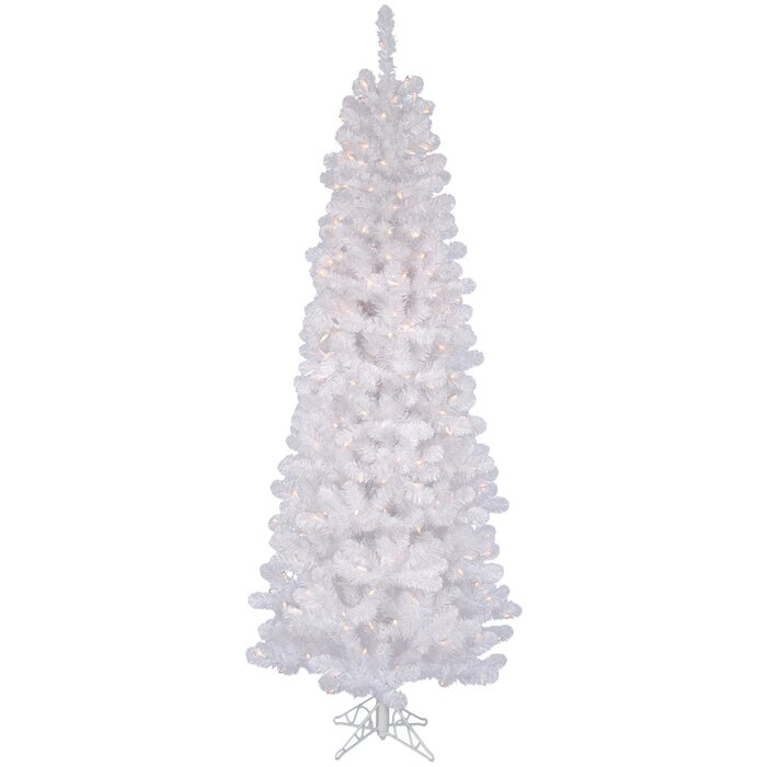 86cd6f1f45c7 Vickerman White Salem Pencil Pine Artificial Christmas Tree with Clear  White Lights & Reviews | Wayfair