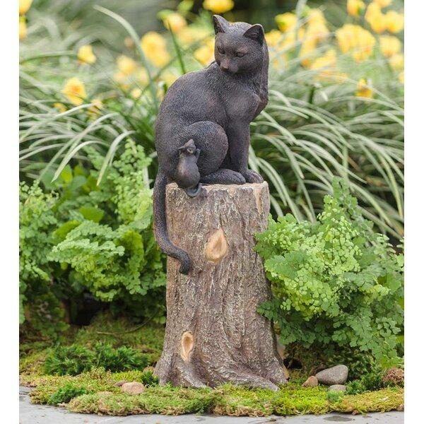 Stone Figurine Cat Puss Animal Figure Garden Sculpture Gift Idea Frost Resistant