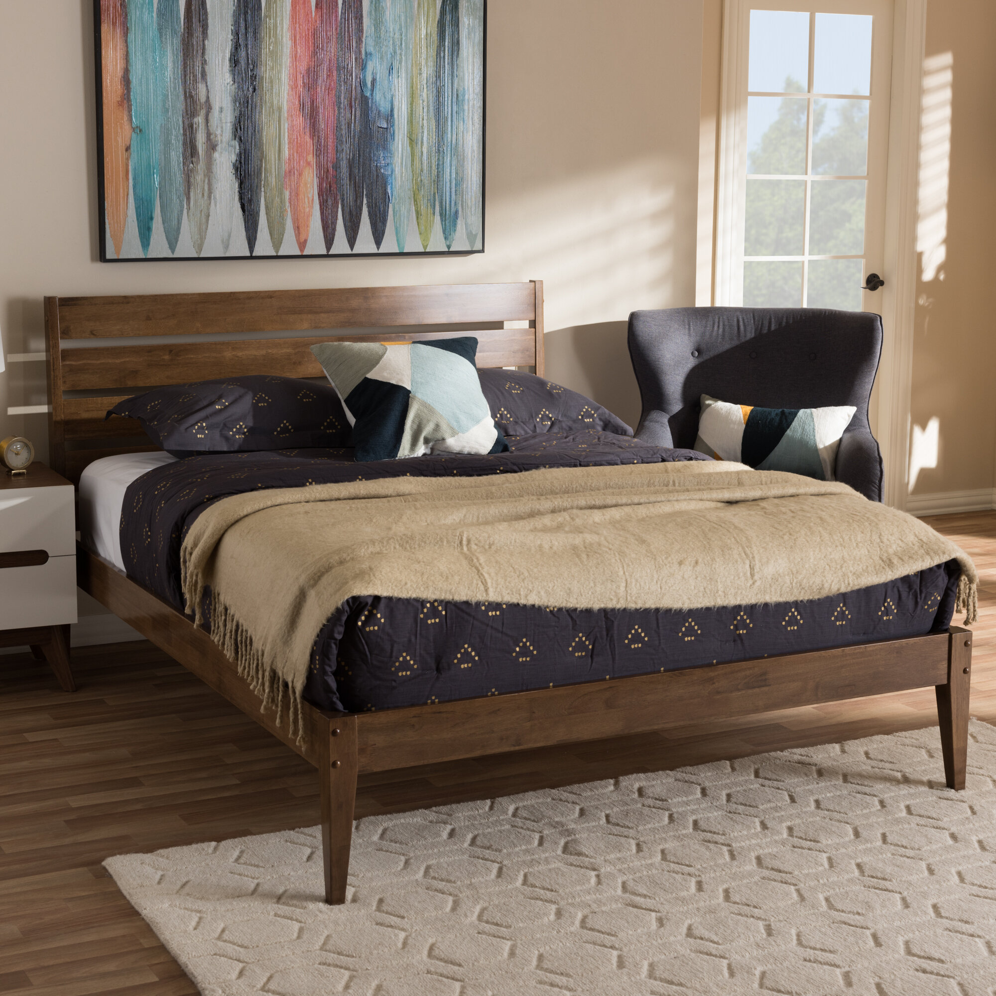 Adrienna Mid-Century Modern Platform Bed
