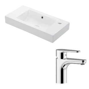 WS Bath Collections Minimal Ceramic Ceramic Rectangular Vessel Bathroom Sink with Faucet and Overflow