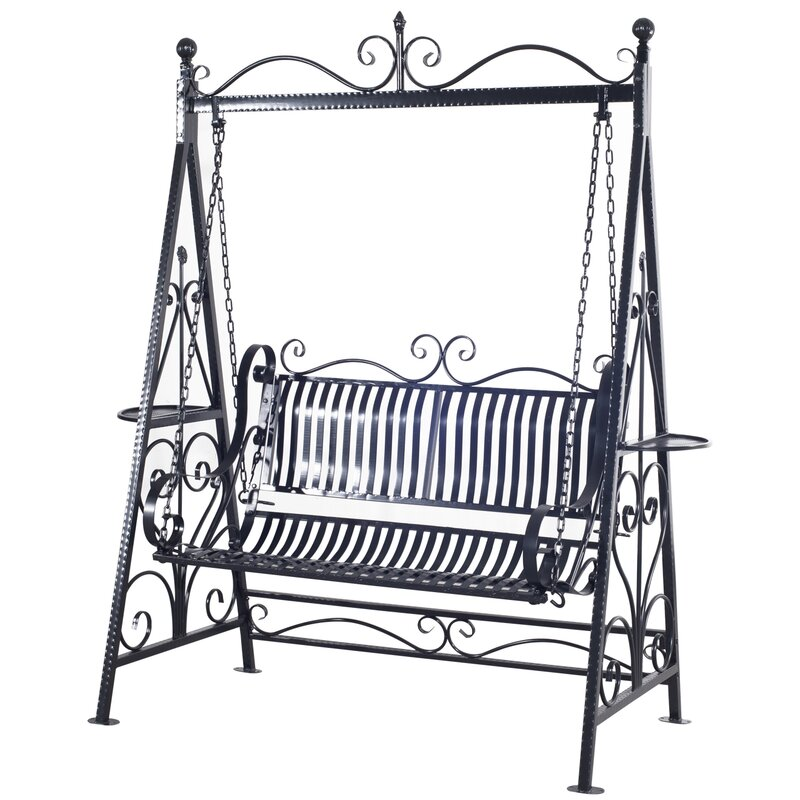 Kerry 2 Person Outdoor Metal Porch Swing With Stand