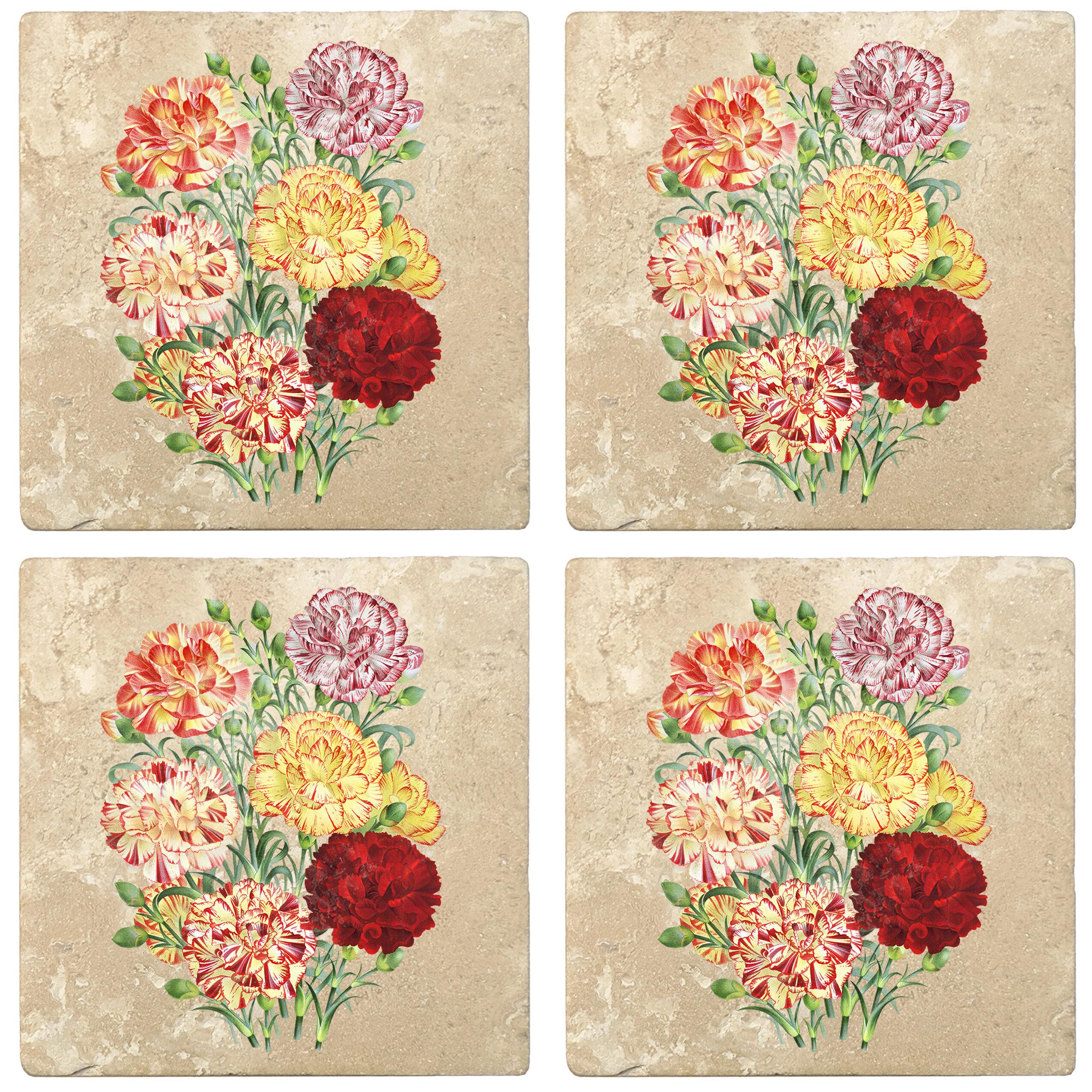 Rosalind Wheeler Carnation Flower Bouquet Absorbent Stone Flower Designs Drink Coasters Wayfair