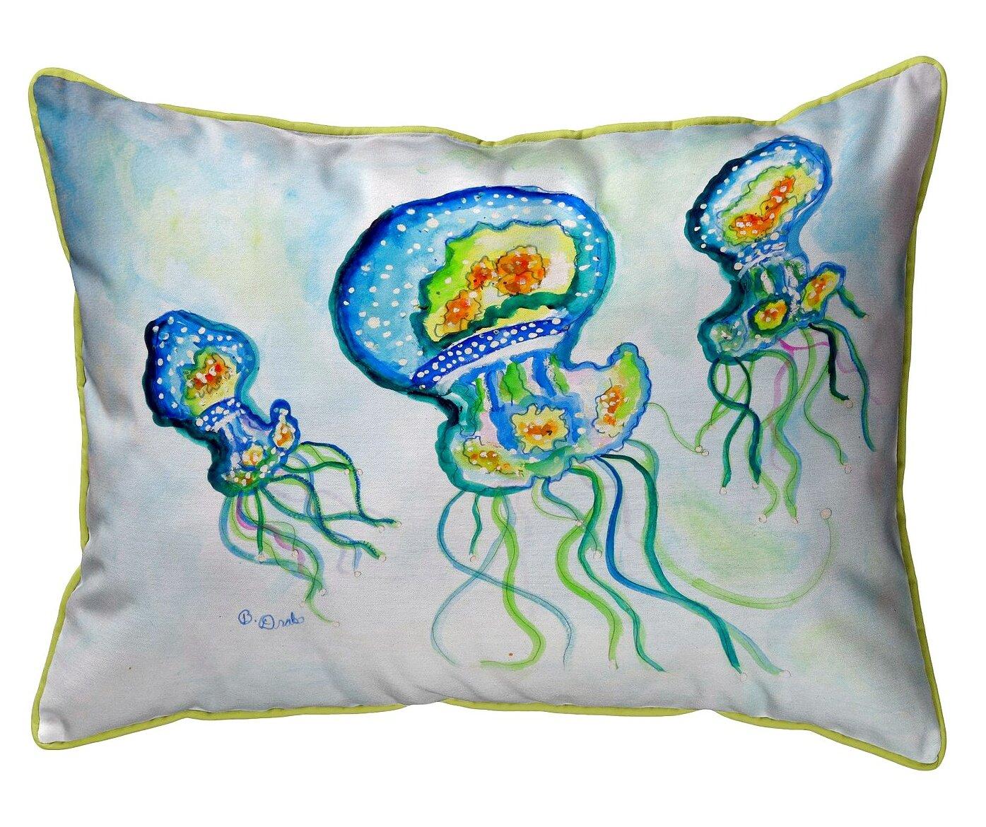 Highland Dunes Kain Three Jellyfish Indoor Outdoor Lumbar Pillow Wayfair