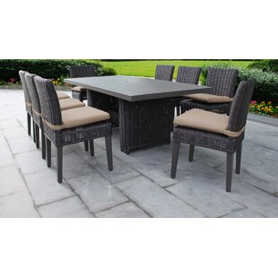 Mejia 9 Piece Outdoor Patio Dining Set with Cushion