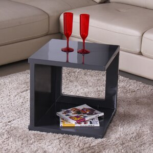 Glossy Functional Cube Coffee Table by Fox Hill Trading