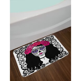 Girl Sugar Skull Bath Rug