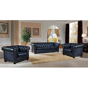 Canora Grey Kraig 3 Piece Leather Living ..