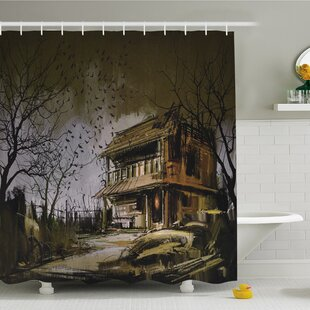 Rustic Home Old Haunted Abandoned Wood House at Dark Night with Bats Scary Horror Shower Curtain Set