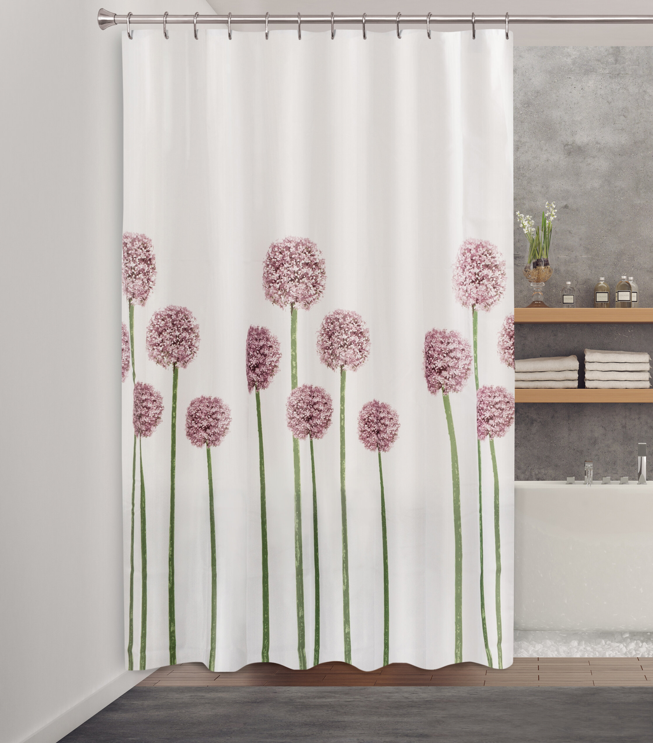 Kang Allium Fabric Single Shower Curtain
