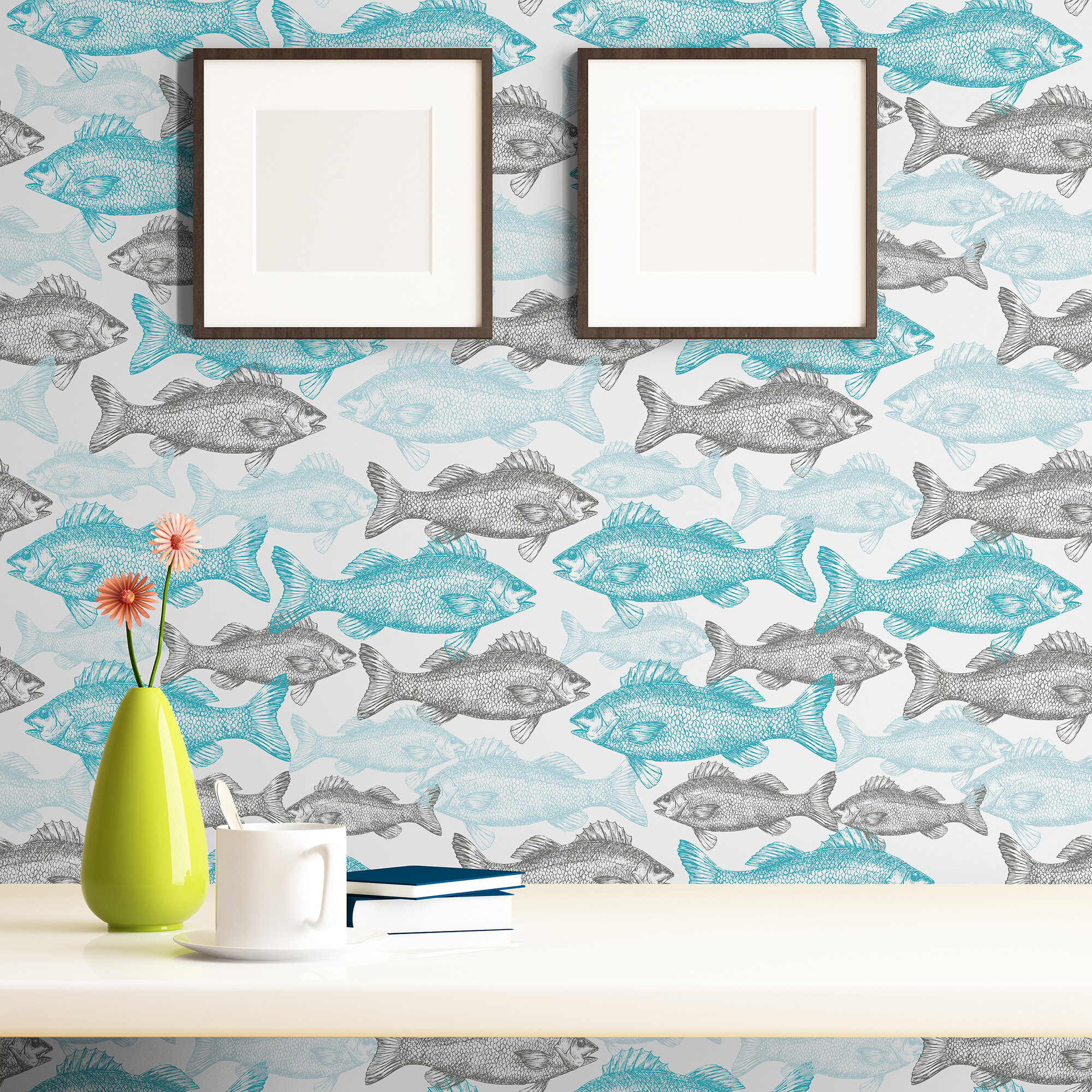 Breakwater Bay Branch Fish Nautical Removable Peel And Stick Wallpaper Panel Wayfair