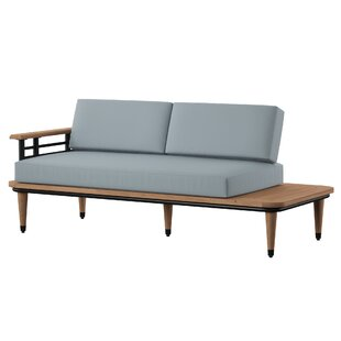 Clary Teak Lounge Patio Daybed with Cushion Spruce