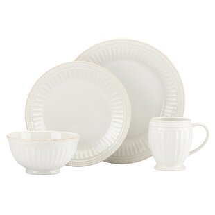 French Perle Groove 4 Piece Place Setting, Service for 1