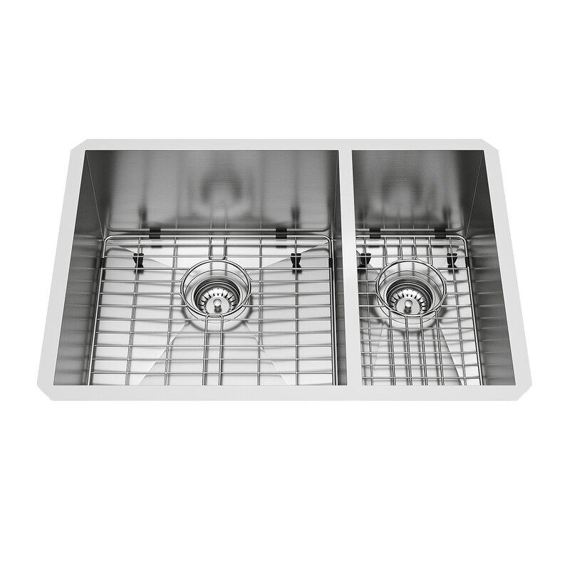 VIGO Endicott Stainless Steel Double Bowl Undermount Kitchen Sink ...