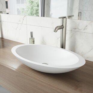 VIGO VIGO Matte Stone Oval Vessel Bathroom Sink with Faucet