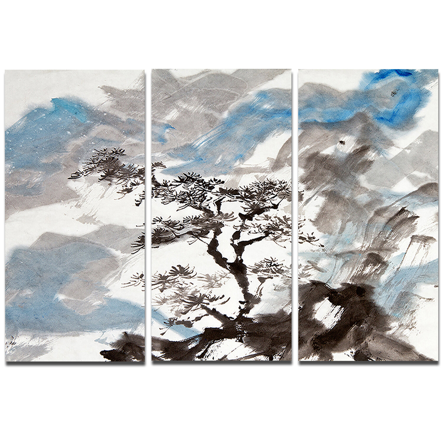 Designart Chinese Pine Tree 3 Piece Painting Print On Wrapped Canvas Set Wayfair Ca