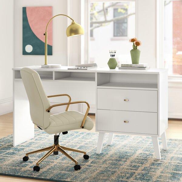 Mercury Row Alyssa Mid Century Modern Computer Desk With Side Storage And 2 Drawers Black Reviews Wayfair Ca