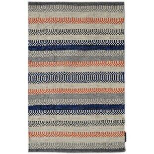 Saffron Handmade Kilim Cotton Blue/Beige/Orange Rug by Bakero