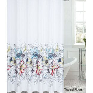 Tropical Flower Printed Single Shower Curtain