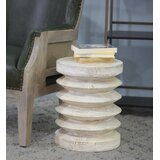 Krumm Solid Wood Drum End Table by Foundry Select
