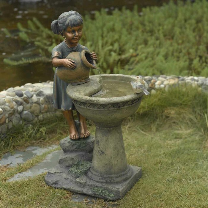 Resin Fibergl Versando Bird Bath Outdoor Water Fountain