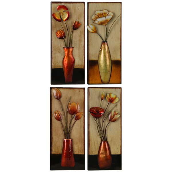 Hobbitholeco. 4 Piece Small Metal Floral in Vase Wall Décor Set ...