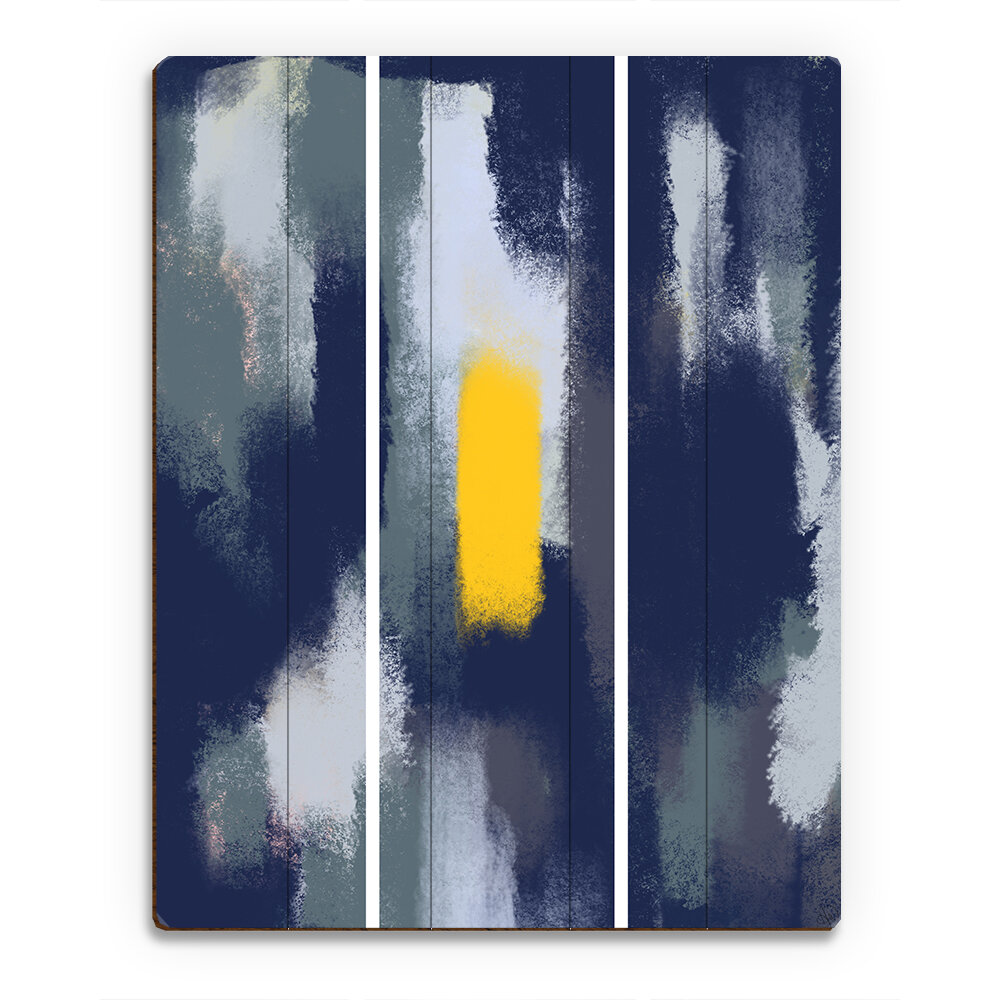 Click Wall Art Painted Monolith Yellow Navy Painting Print On Plaque Wayfair