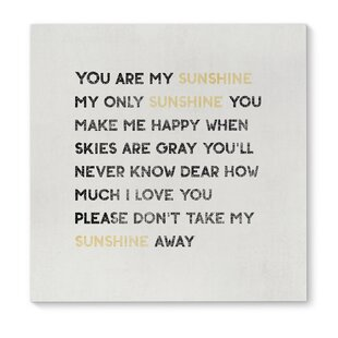 You Are My Sunshine Wall Art Wayfair