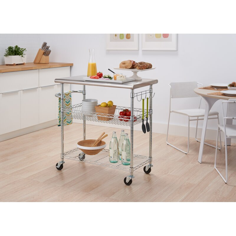 Trinity Stainless Steel Kitchen Cart Reviews Wayfair