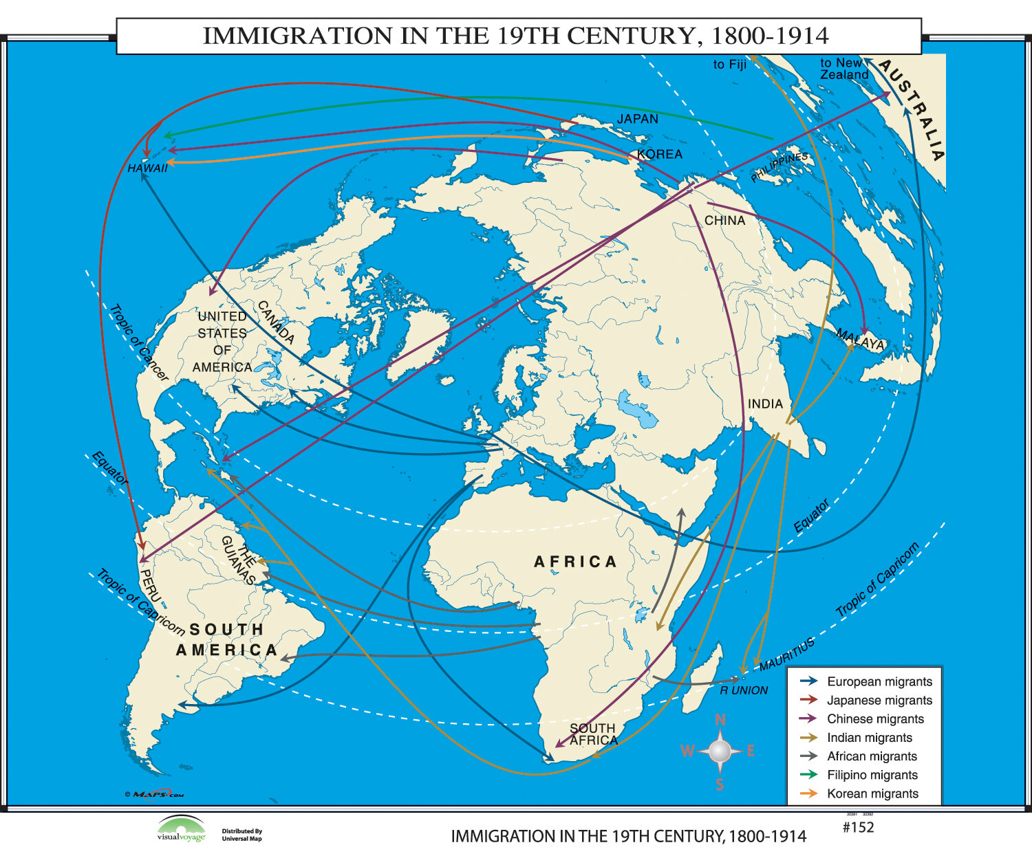 Universal Map World History Wall Maps - Immigration in 19th Century ...