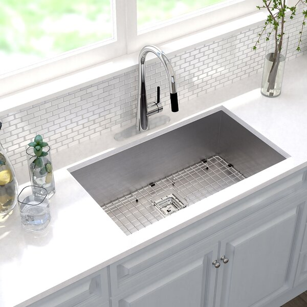 """Kraus Pax™ 31"""" X 18"""" Undermount Kitchen Sink With Drain"""