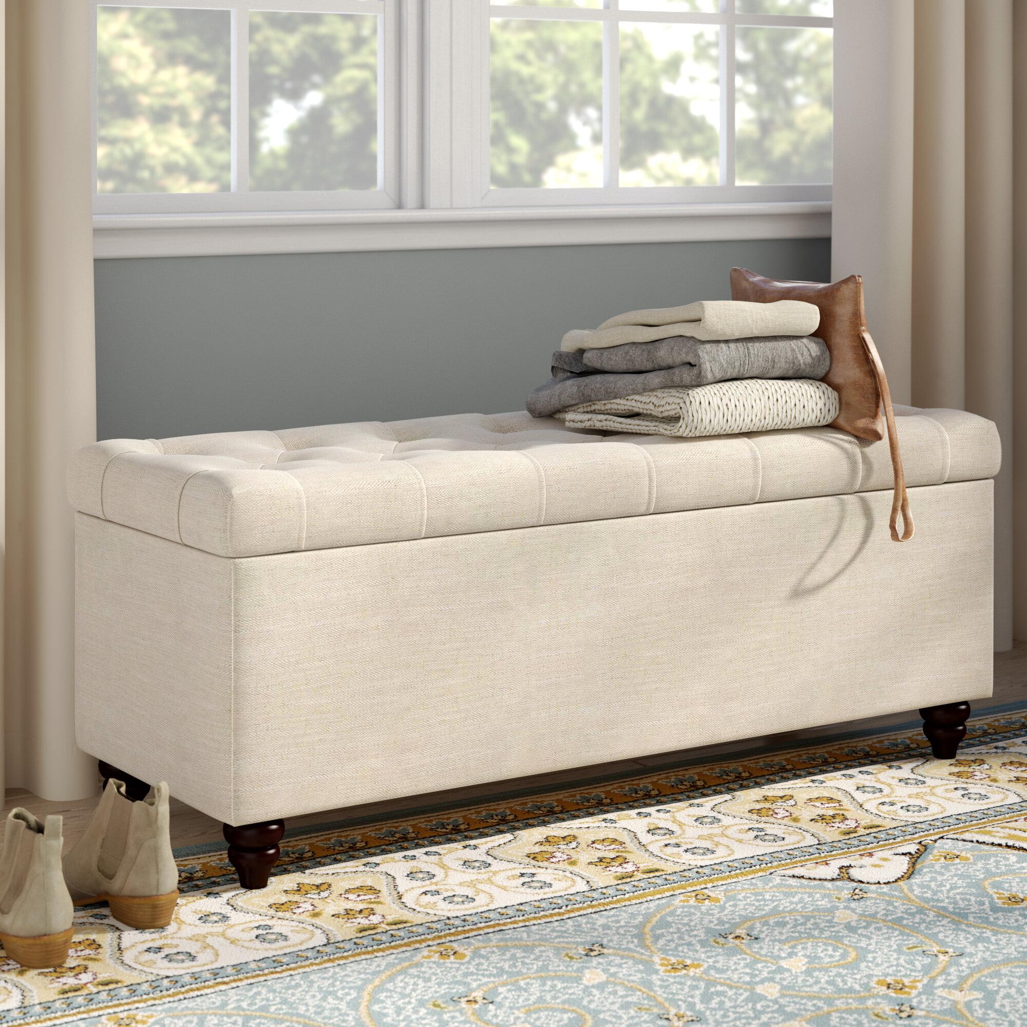 Diamond Sofa Chesterfield Upholstered Storage Bedroom Bench ...