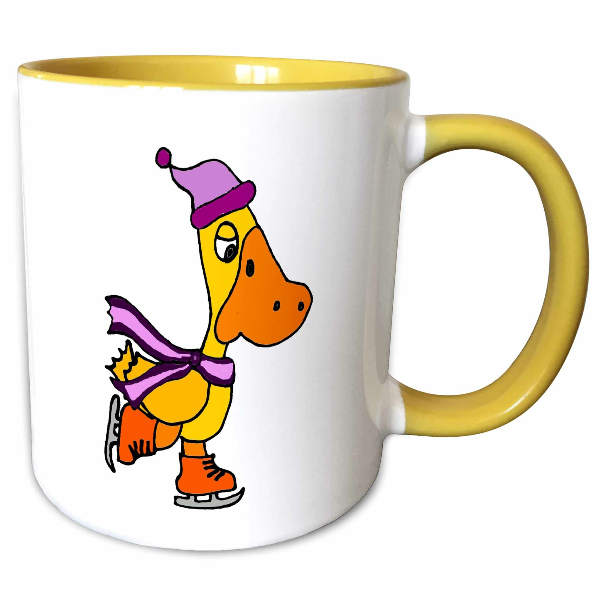 Symple Stuff Madeira Duck Ice Skating With Scarf And Hat Coffee Mug Wayfair