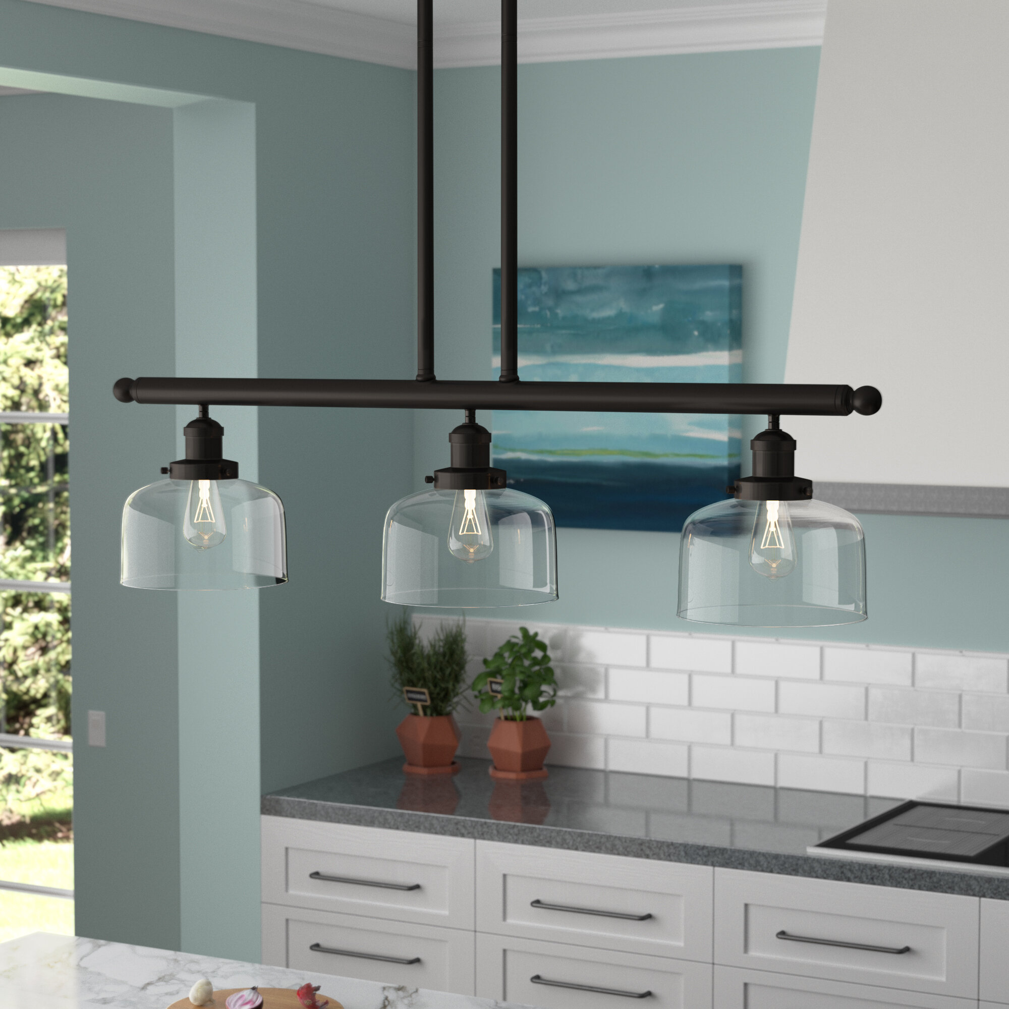 Beachcrest Home Beringer 3-Light Kitchen Island Pendant & Reviews ...