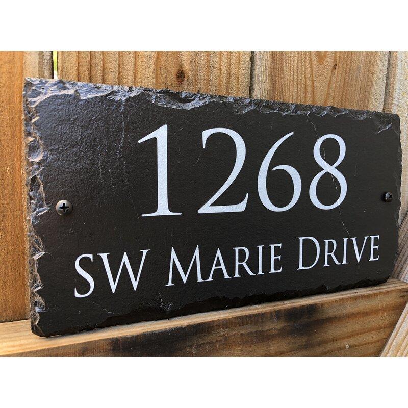 address number Deep Engraved Slate sign plaque House Names personalised custom