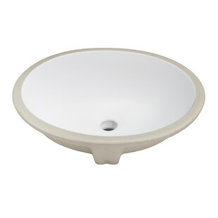 Ticor Sinks Belfast Series Ceramic Oval Undermount Bathroom Sink with Over..