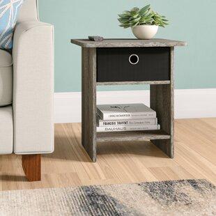 Latitude Run Pelkey Storage Shelf with Bin Drawer End Table (Set of 2)
