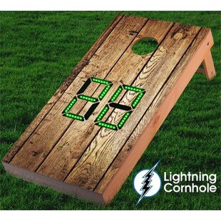 Lightning Cornhole Electronic Scoring Weathered Wood Cornhole Board