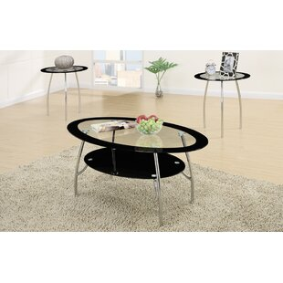 Chmura Oval Edge Glass Top 3 Piece Coffee Table Set Ebern Designs