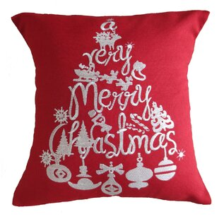 Pulley Christmas Decorative Embroidered Burlap Pillow Cover