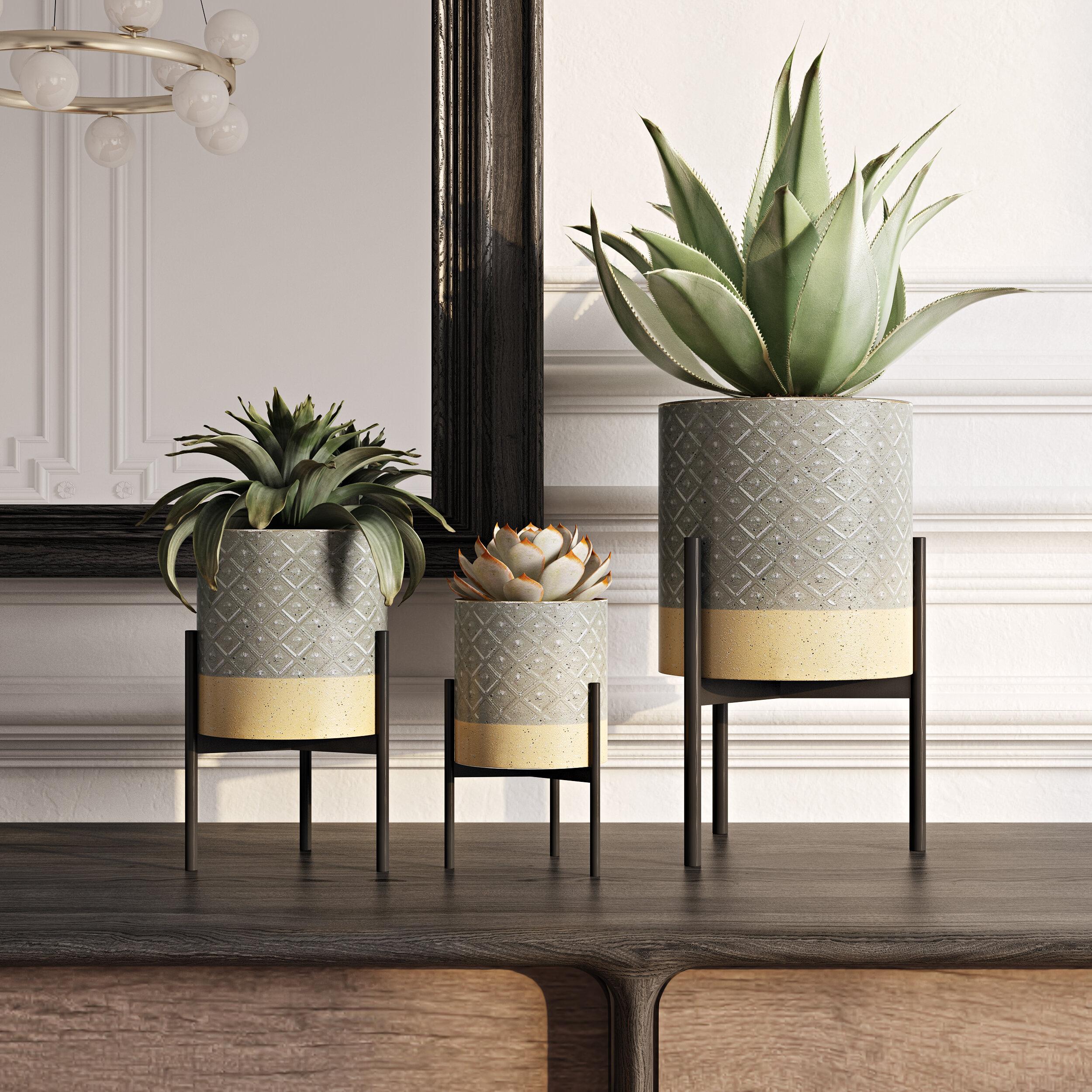 Mercury Row Adelle 3 Piece Metal Pot Planter Set Reviews Wayfair