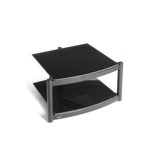 Hi Fi Modular 2 Shelf Base With ARC Glass In Polished Black By Symple Stuff