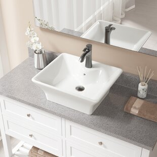 Best Deals Vitreous China Rectangular Vessel Bathroom Sink with Faucet and Overflow By MR Direct