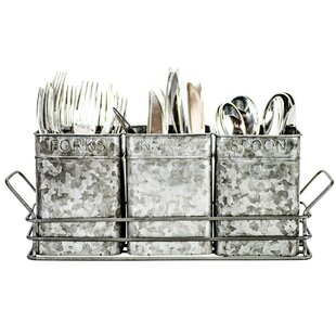 Galvanized 3 Canister Flatware Caddy