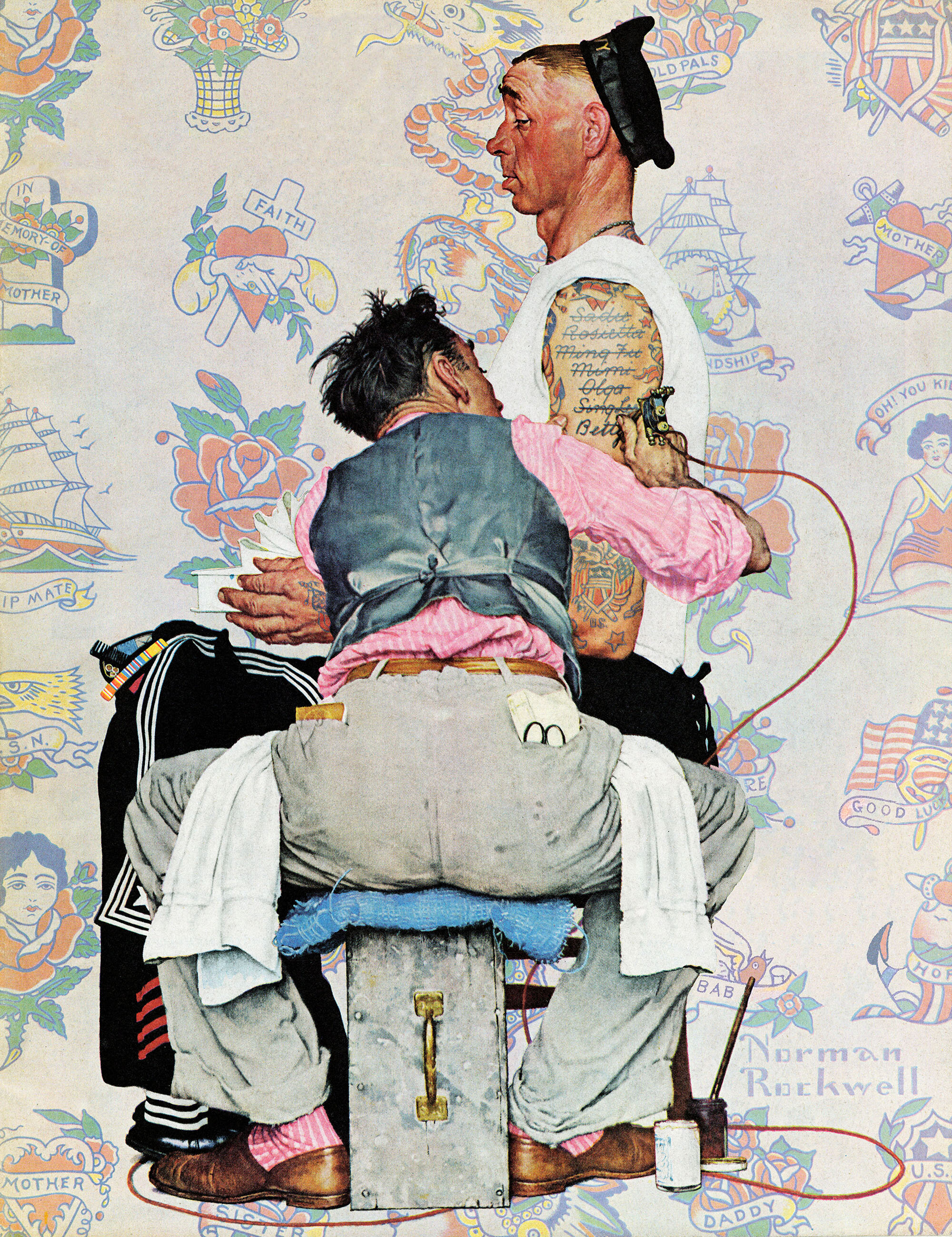 Marmont Hill \'Tattoo Artist\' by Norman Rockwell Painting Print on ...