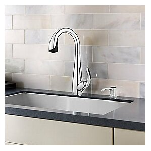 Pfister Nia Single Handle Deck Mounted Kitchen Faucet with Soap Dispenser
